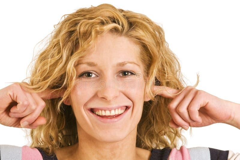 Finger im ears1 stockfotografie