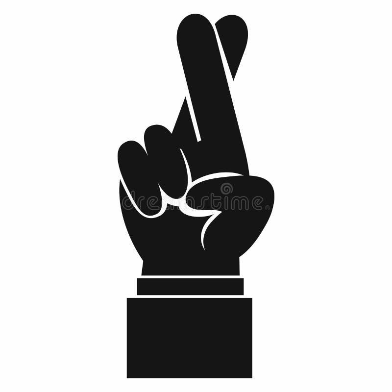 Finger kreuzten Ikone, einfache Art lizenzfreie abbildung