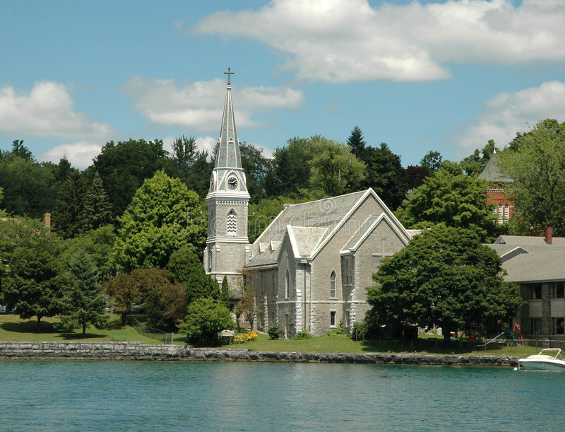 Download Finger Lakes Region: Lake Front Church And Steepl Stock Photo - Image of church, front: 276888