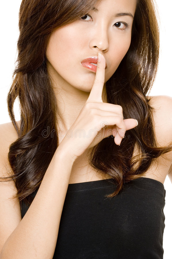 Download Finger On Lips stock image. Image of portrait, face, studio - 595613
