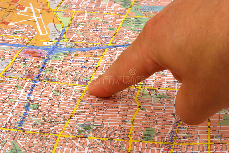 Download Finger on a map stock photo. Image of downtown, direction - 144610