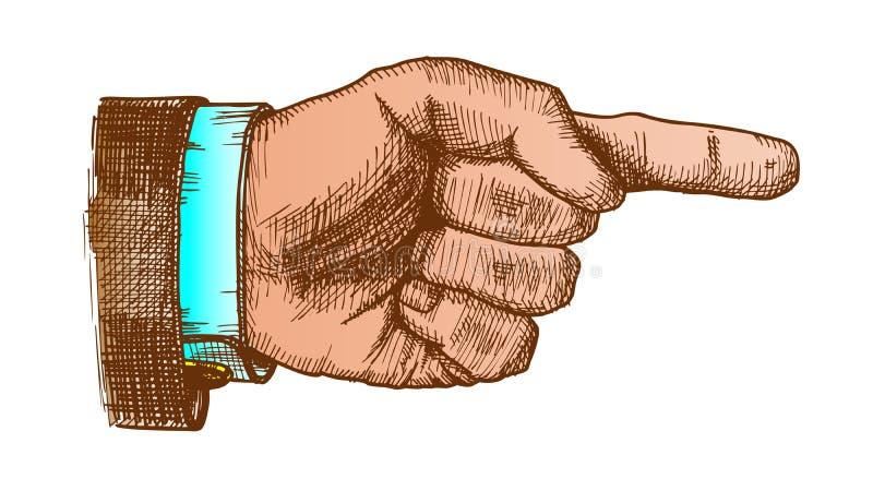 Finger masculino del indicador de la mano que muestra vector del gesto del color libre illustration