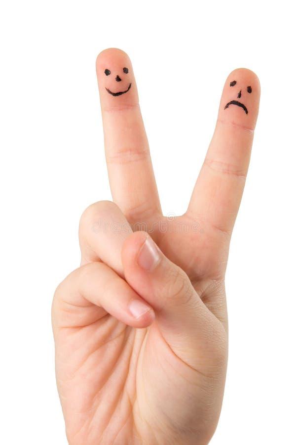 Finger mit Gesichtern stockfoto