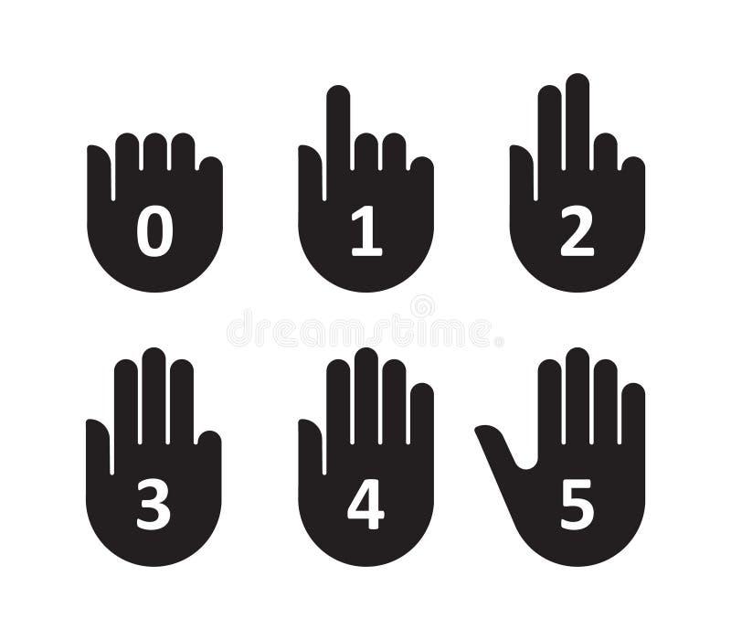 Finger och nummer för handräkningsgest stock illustrationer