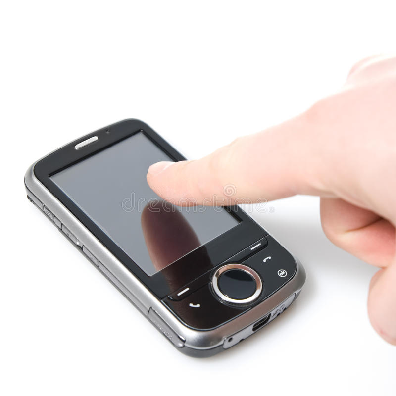 Finger and pda with touch screen isolated. On white stock photos