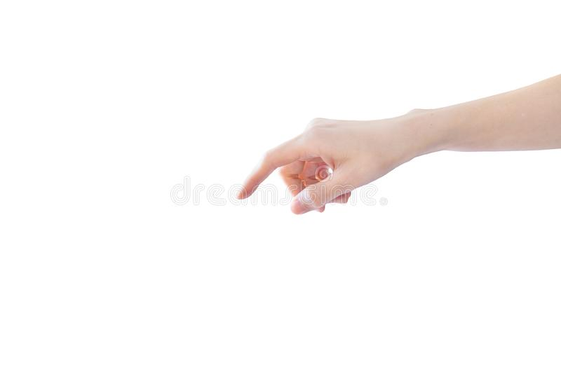 Finger point downward isolated on white background.  royalty free stock photos