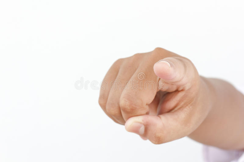 Finger pointing stock image