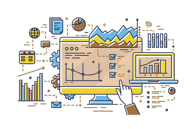 Finger pointing at computer screen with various diagrams, bar and pie charts, linear graphs. Concept of statistical data. Analysis, analytics and market stock illustration