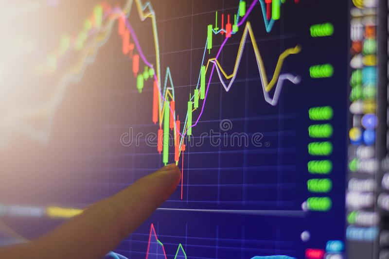 Finger pointing on stock exchange market chart investment trading for take a profit with trading long or short order. Position on computer monitor screen close royalty free stock photography