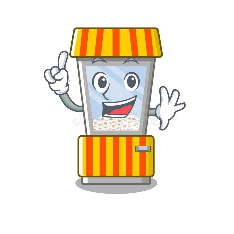 Finger popcorn vending machine in mascot shape. Vector illustration royalty free illustration