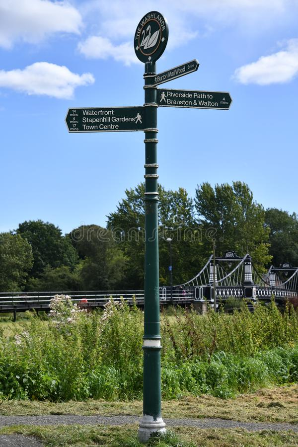 Finger Post at The Washlands Stapenhill Burton Upon Trent royalty free stock photo