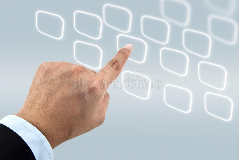 Finger press on blank touch screen. Buttons royalty free stock image