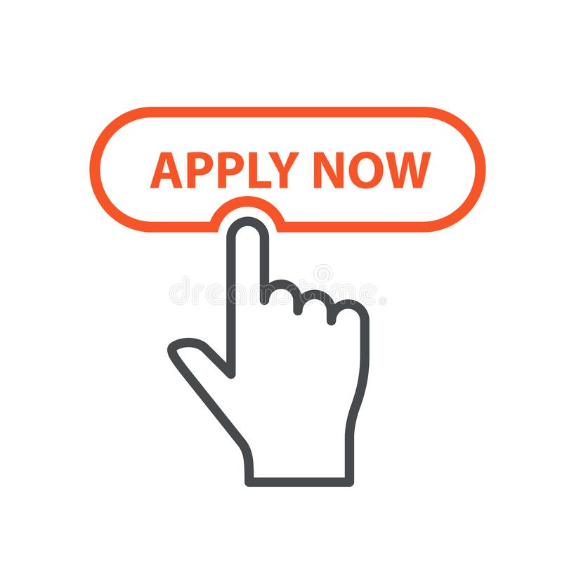 Finger pressing button Apply Now - job placement and file an application stock illustration