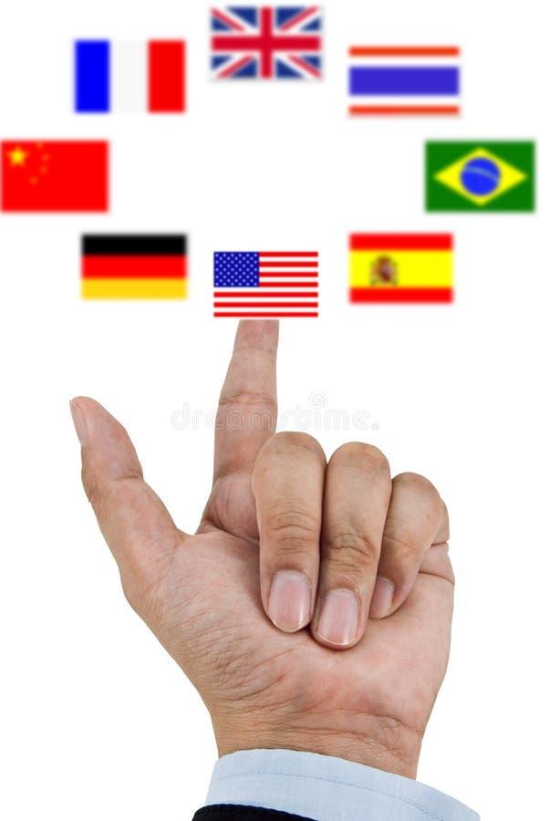 Finger pressing flag. Finger pressing USA flag on center stock image