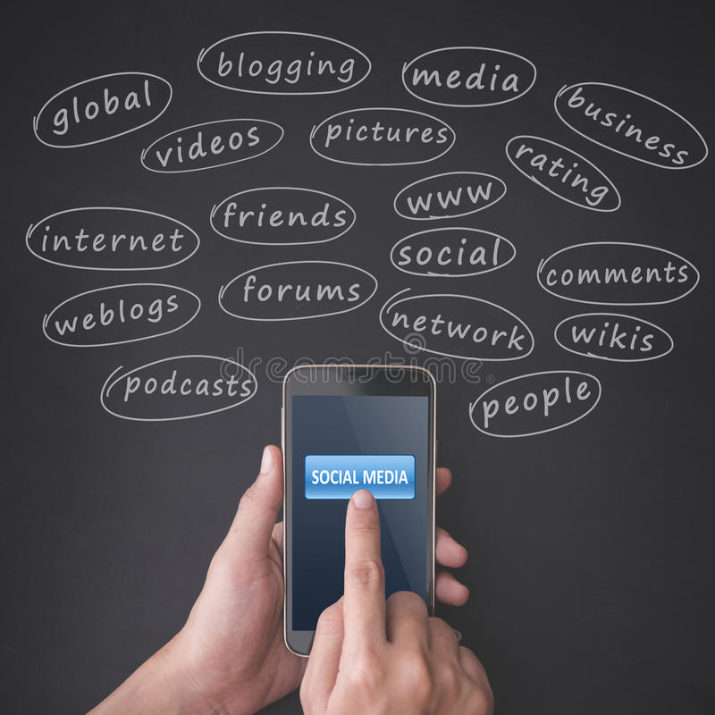 Finger pressing a smartphone with social media concept stock photo