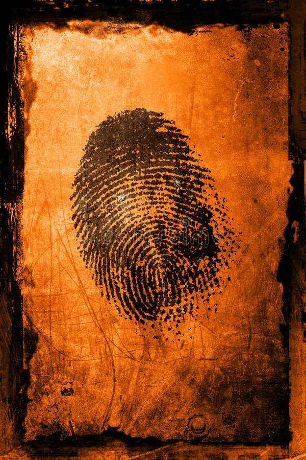 Finger Print. A fingerprint on a textured grunge background royalty free stock photo