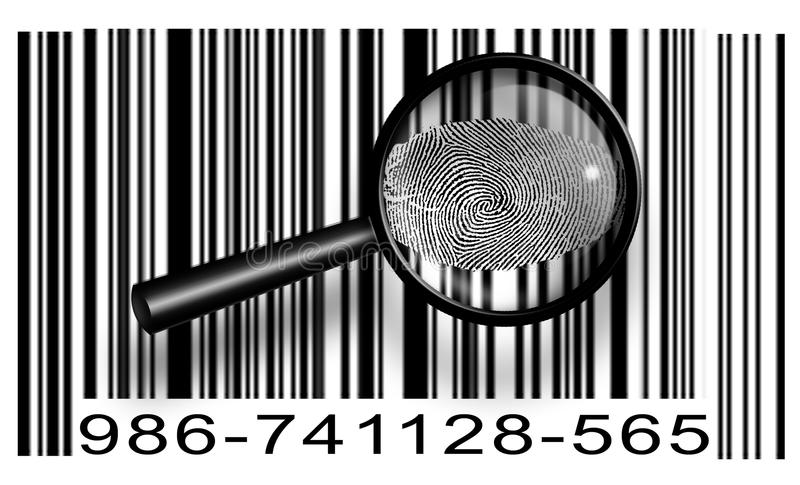Download Finger Print Barcode With Magnifying Glass Stock Illustration - Image: 23781628