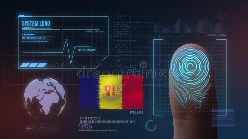 Finger Print Biometric Scanning Identification System. Andorra Nationality.  stock illustration