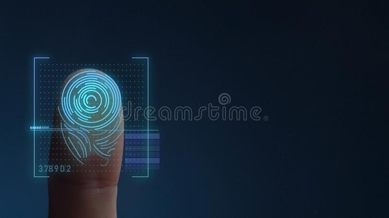 Finger Print Biometric Scanning Identification System. Copy Space royalty free illustration