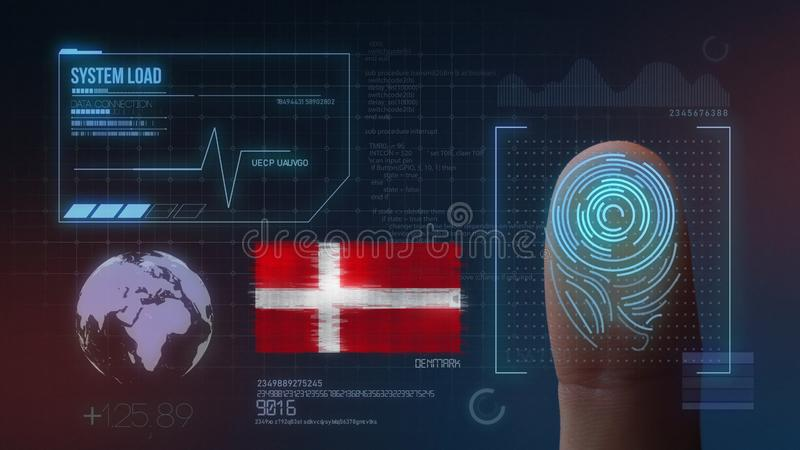 Finger Print Biometric Scanning Identification System. Denmark Nationality stock illustration