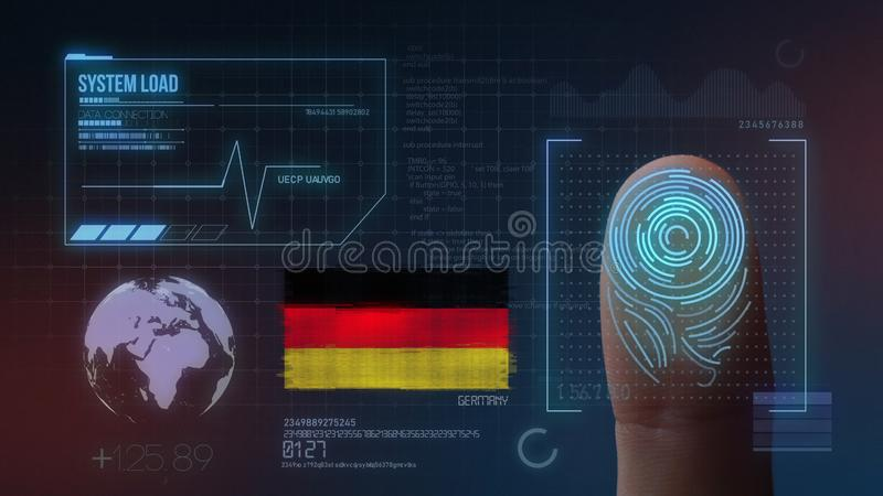 Finger Print Biometric Scanning Identification System. Germany Nationality.  royalty free illustration