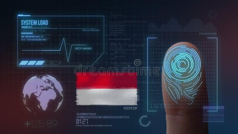 Finger Print Biometric Scanning Identification System. Indonesia Nationality stock illustration