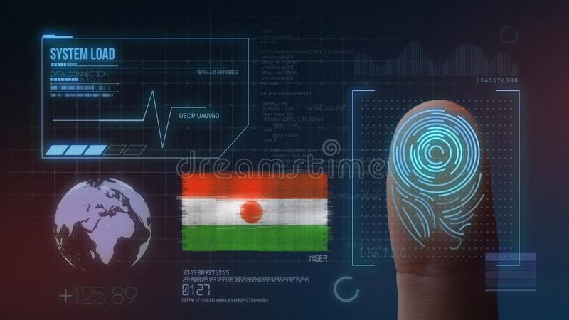 Finger Print Biometric Scanning Identification System. Niger Nationality royalty free stock image