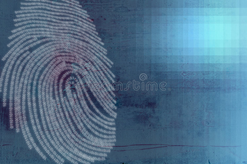 Finger Print Crime technology. Editorial and Abstract piece based around the themes of crime and technology vector illustration