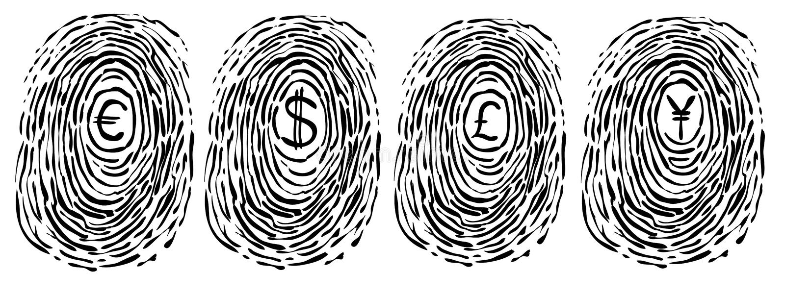 Finger print with currency symbols vector illustration