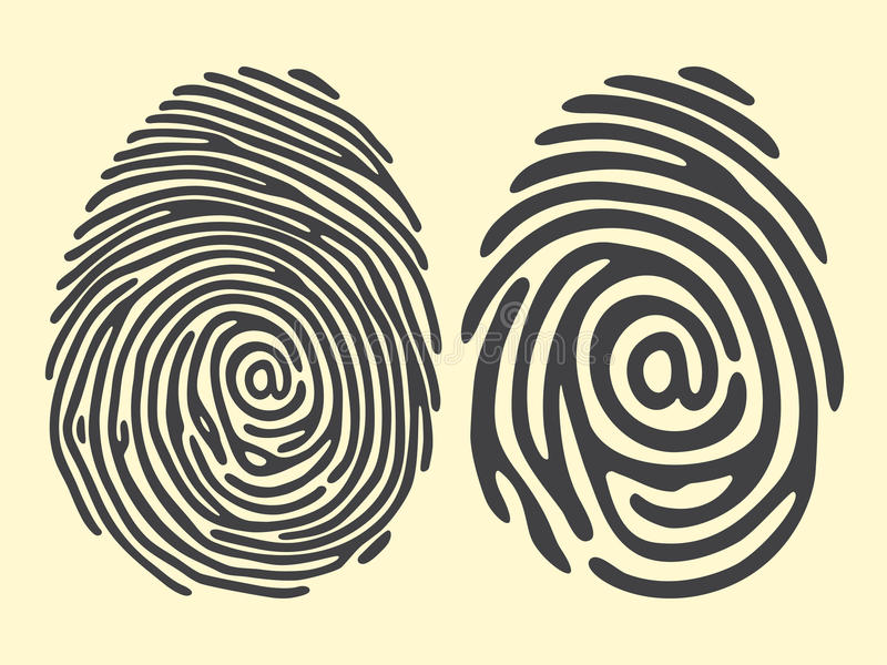 Finger print email vector illustration