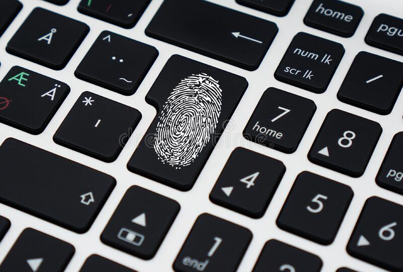 Finger Print on Enter Key of Keyboard royalty free stock photo