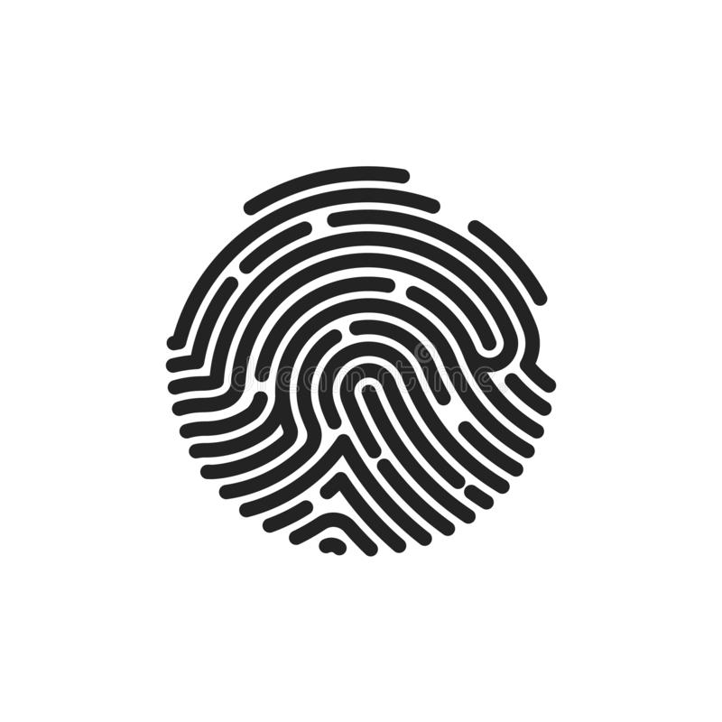 Finger print flat scan. Circle Fingerprint icon design for application. Vector illustration isolated on white background royalty free illustration