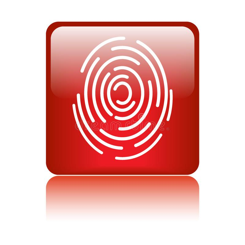 Fingerprint sign icon. Finger print icon web button - vector illustration on isolated white background with reflection shadow royalty free illustration