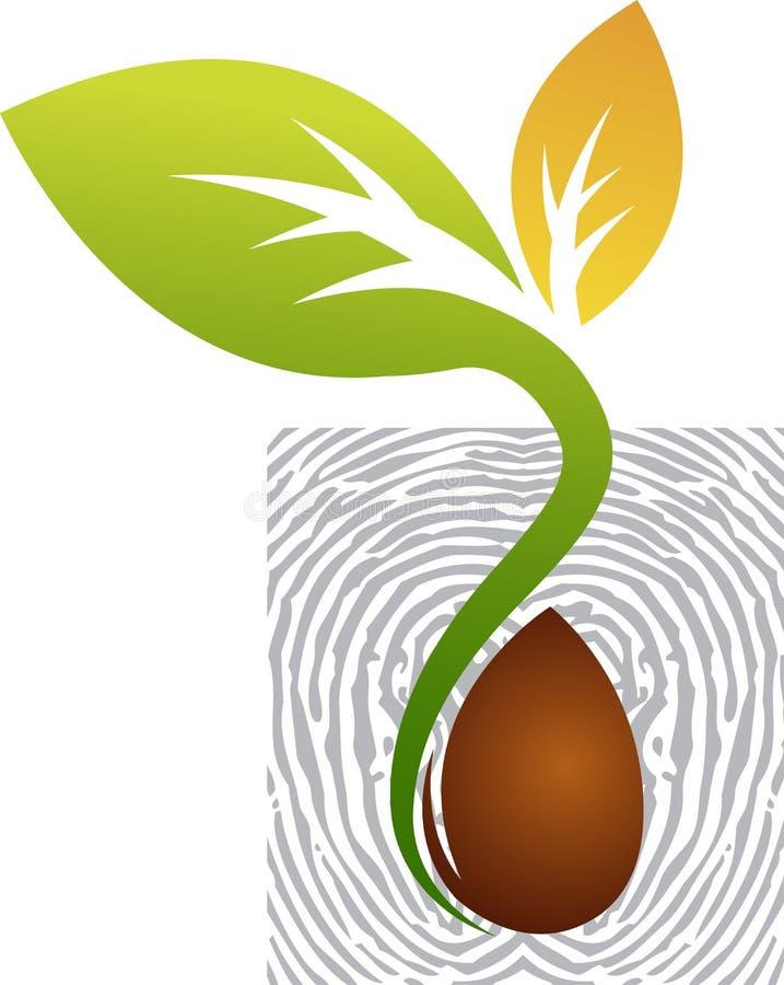 Finger print leaf logo royalty free illustration