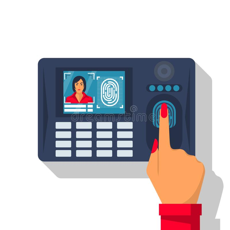 Finger print scan. Authorization in security system stock illustration