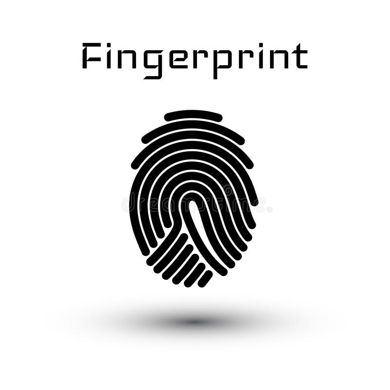 Finger-print Scanning Identification System. Biometric Authorization and Business Security Concept. Vector illustration.  royalty free illustration