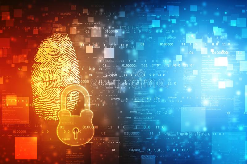 Finger print Scanning Identification System, digital security system with finger print and lock stock illustration