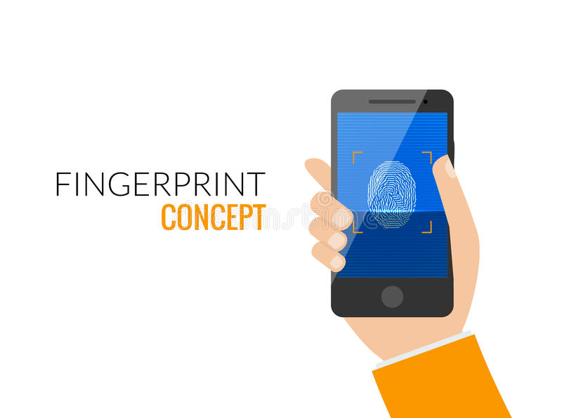 Finger Print Smart Phone Access Lock, Business Man Touch Screen Fingerprint Hands Scan Security Flat Vector Illustration royalty free illustration