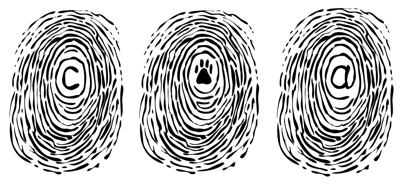 Download Finger print with symbols stock vector. Image of identity - 10726107