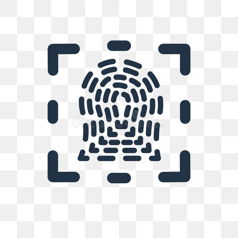Finger Prints vector icon isolated on transparent background, Finger Prints transparency concept can be used web and mobile stock illustration