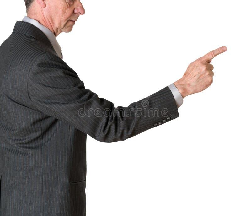 Finger punteagudo ejecutivo caucásico mayor y aislado imagenes de archivo