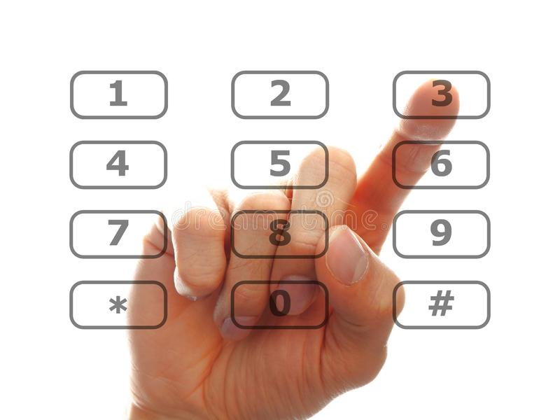 Finger push a telephone number button royalty free stock images