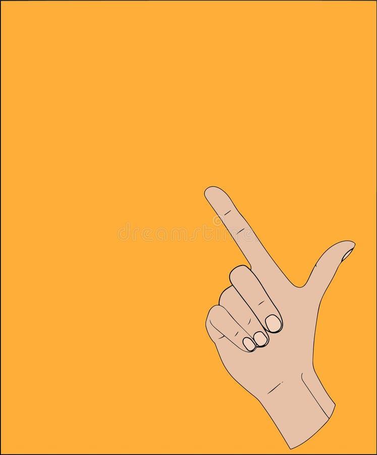 Finger que deletrea la letra L del alfabeto en lenguaje de signos americano de la mano libre illustration