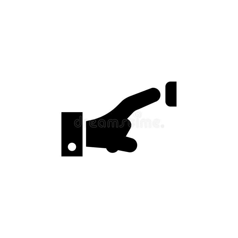 Finger que presiona el timbre, empujando el icono plano del vector de Bell de puerta stock de ilustración