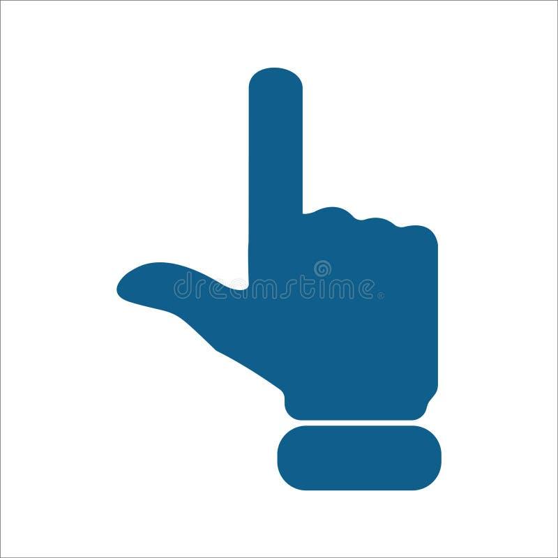 Finger que señala encima de fondo blanco aislado del icono stock de ilustración