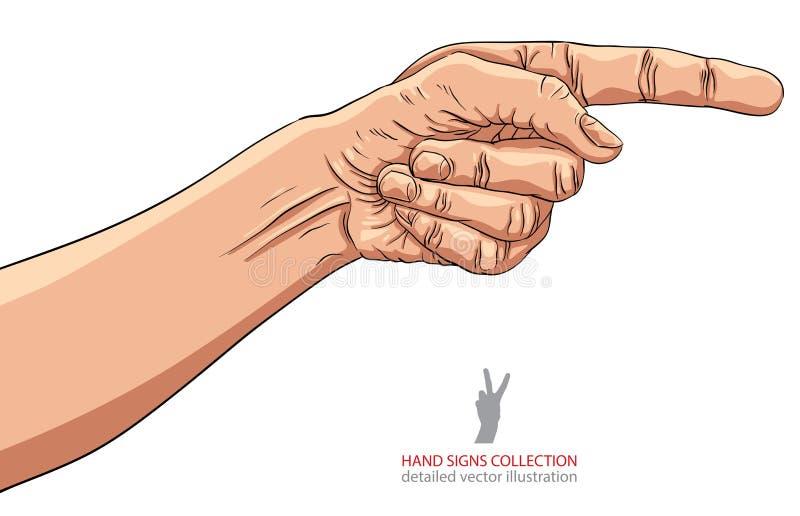 Finger que señala la mano, ejemplo detallado del vector, muestra de la mano ilustración del vector