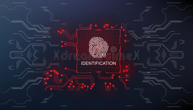 Identification, finger scan in futuristic style biometric id with futuristic hud interface fingerprint scanning. Finger scan in futuristic style biometric id royalty free illustration