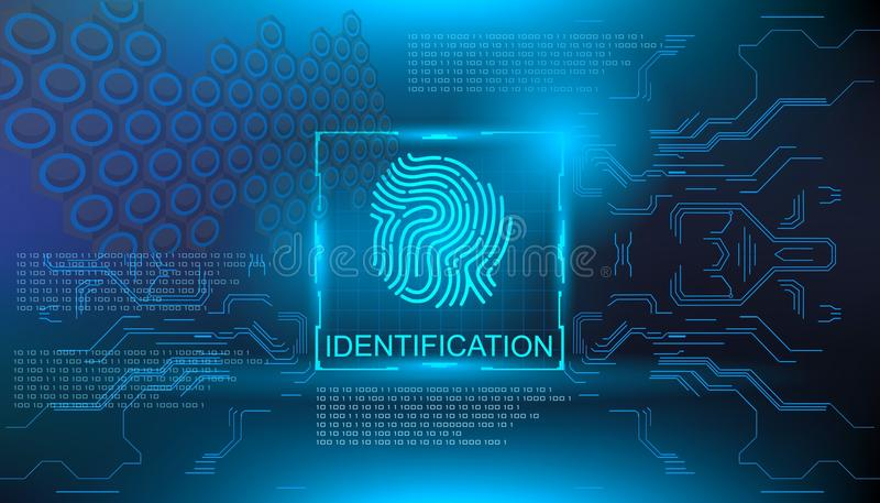 Identification, finger scan in futuristic style biometric id with futuristic hud interface fingerprint scanning. Finger scan in futuristic style biometric id vector illustration