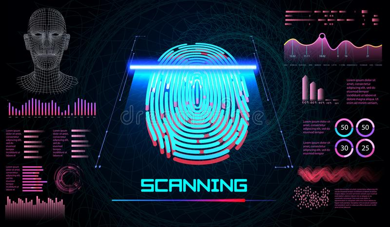 Finger Scan in Futuristic Style. Biometric id with Futuristic HUD Interface. Fingerprint Scanning Technology. Concept Illustration. Identification System royalty free illustration