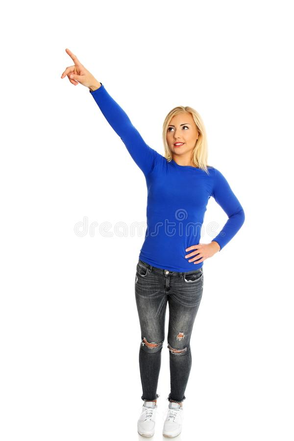 Finger showing on side. royalty free stock images